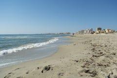 Sandy Beach Line in La Manga del Mar Menor. Sandy Beach Line - La Manga del Mar Menor, Cabo de Palos, Cartagena and San Javier, Murcia, Spain, Europe Royalty Free Stock Images