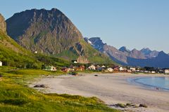 Sandy beach on Lofoten Stock Image