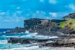 Sandy Beach. Looking towards the Halona scenic lookout, East Shore, Oahu, Hawaii Stock Photo