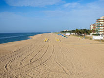 Sandy beach of Malgrat de Mar Stock Photography