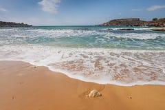 Sandy beach on the Malta island stock photos