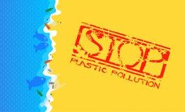 Sandy Beach med översvämmad plast-avfalls Grungestämpel med text: Stoppa plast- förorening vektor illustrationer