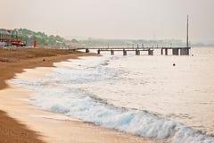 Sandy beach on the Mediterranean Sea Stock Photo