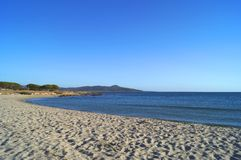 Sandy beach and mountain Stock Images