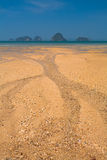 Sandy beach, mountains Royalty Free Stock Photos