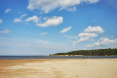 The sandy beach at the mouth of the river of the Baltic Sea Royalty Free Stock Photography