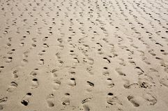 Sandy Beach - multiple footprints in rows receding Royalty Free Stock Images