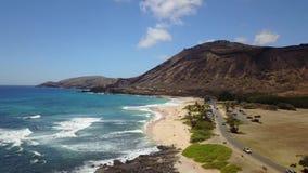 Sandy Beach na ilha de Oahu no zangão de Havaí filme