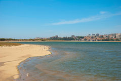 Sandy beach of natural reserve in Porto, Portugal Stock Photos