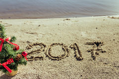 Sandy beach. new year concept stock photography