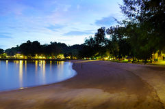 Sandy beach at night with trees and lights in the distance Stock Images