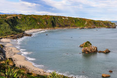 Sandy Beach no cabo Foulwind, Nova Zelândia foto de stock royalty free