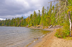 Sandy Beach on a North Woods Lake Stock Images