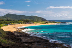 Sandy Beach Oahu, Hawaii Royaltyfria Bilder