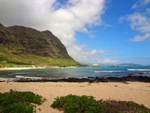 Sandy Beach in Oahu, Hawaii Royalty Free Stock Images