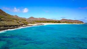 Sandy Beach på Oahu Arkivbild