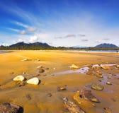 Sandy beach Pacific ocean Stock Photos