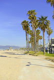 Sandy Beach and palm trees near Los Angeles in Southern California Stock Images