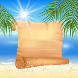 Sandy beach with palm trees and papyrus Royalty Free Stock Images