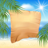 Sandy beach with palm trees and papyrus Stock Image