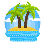 Sandy beach and palm trees. Summer beach, palm trees and sand. Maybe it's time to go on vacation Royalty Free Stock Photography