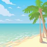 Sandy Beach With Palms Paesaggio tropicale dell'oceano Immagini Stock Libere da Diritti