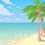 Sandy Beach With Palms Paysage tropical d'océan illustration libre de droits