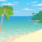Sandy Beach With Palms Paysage tropical d'océan illustration stock