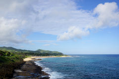 Sandy Beach Panoramic on the southeast side of Oahu Stock Images