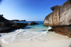 Sandy beach paradise island Royalty Free Stock Images