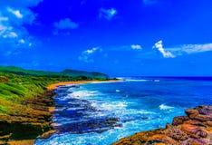 Sandy Beach Park Hawaii. Honolulu , Oahu,  Hawaii, USA - September 4, 2015:  Sandy Beach Park,  including Halona Blow Hole and Koko Head crater, is a beautiful Stock Photography