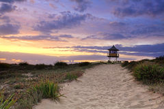 Sandy Beach Path, Sunrise Stock Photo
