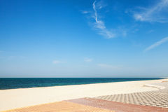 Sandy beach with pavement, Ras Tanura, Saudi Arabia Stock Photos