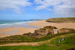 Sandy beach Perranporth North Cornwall England UK rich colours Royalty Free Stock Photography