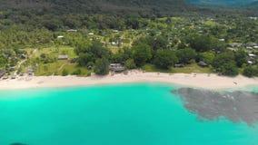 Sandy Beach portuário com palmeiras, Espiritu Santo Island de Orly, Vanuatu vídeos de arquivo