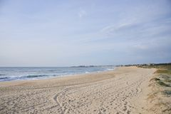 Sandy beach on Portugal royalty free stock photography