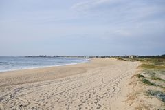 Sandy beach on Portugal royalty free stock images