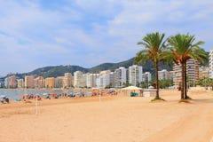Sandy beach in resort town. Cullera, Spain Royalty Free Stock Photos