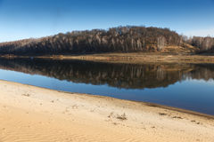 Sandy beach of the river Stock Photography