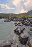 Sandy beach on the river Katun, Altai Mountains Siberia, Russia Royalty Free Stock Photo
