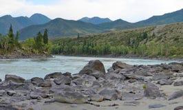 Sandy beach on the river Katun, Altai Mountains Siberia, Russia Royalty Free Stock Images
