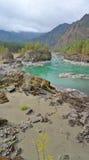 Sandy beach on the river Katun, Altai Mountains Siberia, Russia Stock Photo