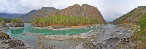 Sandy beach on the river Katun, Altai Mountains Siberia, Russia Stock Photos