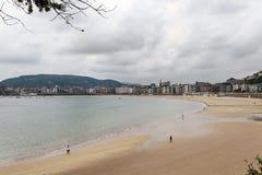 Sandy beach in San Sebastian Stock Photos