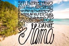 Sandy Beach, Sardinia, Beautiful Landscape, Text Danke Mama Means Thank You Mom