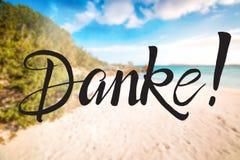 Sandy Beach, Sardinia, Beautiful Landscape, Text Danke Means Thank You