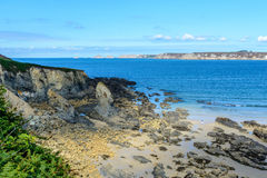 Sandy beach in sea bay at Camaret,Brittany Royalty Free Stock Image