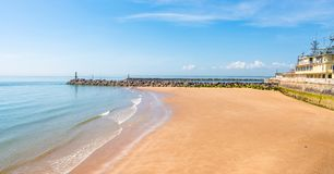 Sandy beach and sea in Ramsgate. View of sandy beach and sea in Ramsgate, Kent, UK Royalty Free Stock Photography