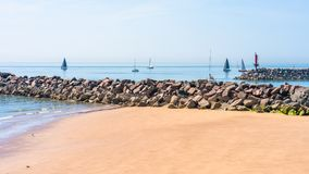 Sandy beach and sea in Ramsgate. View of sandy beach and sea in Ramsgate, Kent, UK Stock Image