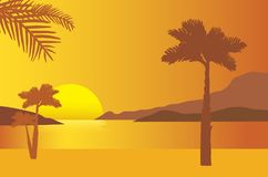 Sandy beach on the sea shore with rising sun and palms under ora vector illustration